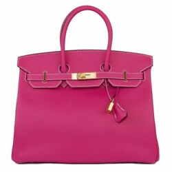 54732 auth HERMES Rose Tyrien pink Epsom leather Gold BIRKIN 35 Bag LTD ED CANDY