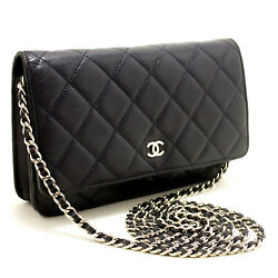 CHANEL Authentic Caviar Wallet On Chain WOC Navy Shoulder Bag Crossbody L87