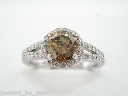 1.36 Carat Champagne Brown Diamond Engagement Ring 14k White Gold Certified Halo