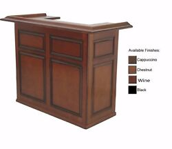 5#x27; Home Bar with Chestnut Finish and Free Shipping
