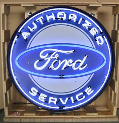 Giant Ford Authorized Service 3 Ft. 36 Round Neon Sign 9frdbk W/ Free
