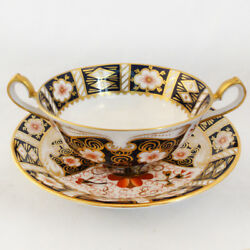 Traditional Imari By Royal Crown Derby Cream Soup And Stand New Never Used England