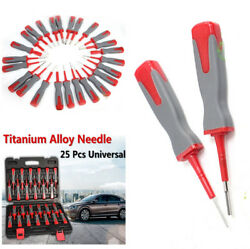 25Pc Car Electrical Terminal Wiring Crimp Connector Pin Remover Release Tool Kit