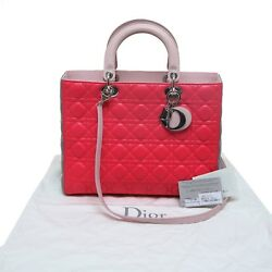Auth Christian Dior Pink Gray Cannage Quilted Lambskin Lady Dior Top Handle Bag