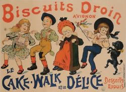 Original Vintage French Food Poster Biscuits Droin - Le Cake Walk By Oge