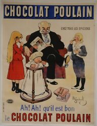 Original Vintage French Oversize 2 Parts Poster For Chocolat Poulain By H. Ger