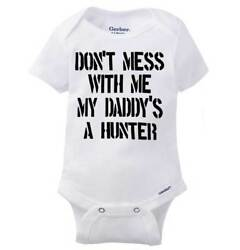 Daddy Hunter Funny Shirt Cute Baby Clothes Deer Hunting Gift Gerber Onesies