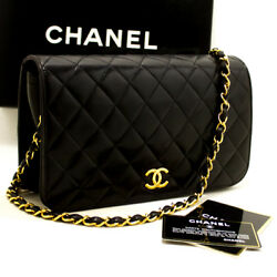 CHANEL Authentic Chain Shoulder Bag Clutch Black Quilted Flap Lambskin m59