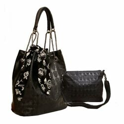 Skull Print PU Leather Hobo Tote Shoulder Bag Package Handbag For Women Girls