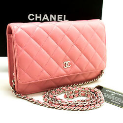 CHANEL Authentic Pink Wallet On Chain WOC Shoulder Bag Crossbody Clutch Lamb L90