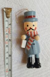 Wooden man w scarf Christmas Tree Ornament Decoration pre-owned vintage decor