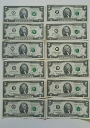 12 Note 2 Two Dollar Bills From All 12 Districts Complete Set Circulated W02