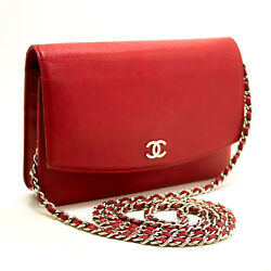 CHANEL Authentic Red Caviar Wallet On Chain WOC Shoulder Bag Crossbody n09