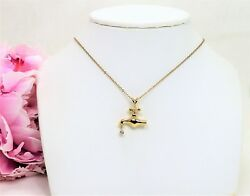 Vintage 14 K Yellow Gold Faucet With .01 Ct Diamond Drip Pendant