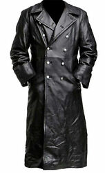 Menand039s Classic Military Black Leather Long German Trench Coat