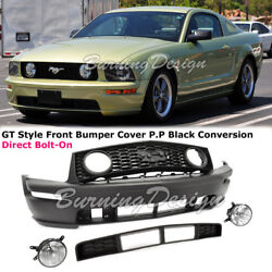 For 05-09 Ford Mustang GT Front Bumper Conversion Fog Lamp With Lower Grille