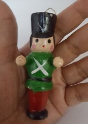 Vintage Christmas holiday decor Soldier Wooden Wood Tree Ornament • pre-owned •