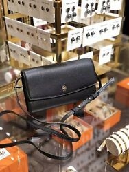 NEW Tory Burch Robinson Pebbled Leather Mini Flap Wallet Cross-body Bag