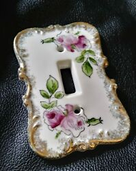 Vintage Light Switch Plate Cover Hand Painted Ceramic Porcelain Japan Flowers
