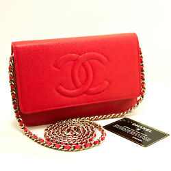 CHANEL Authentic 2016 Red Caviar Wallet On Chain WOC Shoulder Bag Crossbody L15