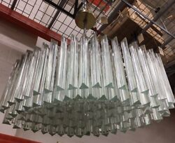 """MURANO Italy Camer Boat Ship Oval Crystal Glass Chrome Triede Chandelier 32"""" XL"""