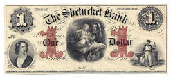 186x The Shetucket Bank, Norwich, Ct - One Dollar Obsolete Remainder Note 1