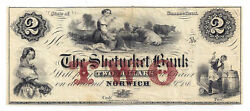 186x The Shetucket Bank, Norwich, Ct - Two Dollar Obsolete Remainder Note