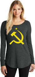 Buy Cool Shirts Ladies Yellow Hammer And Sickle Tri Blend Long Sleeve