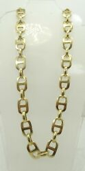 WOW Stunning 14K Yellow Gold HEAVY 11mm Wide Gucci Link Chain Necklace 25