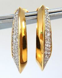 1.00ct Natural Round Diamonds Elongated Inside Out Hoop Earrings 18kt
