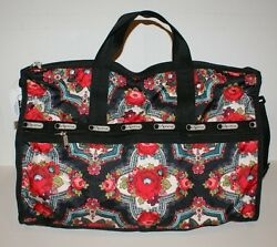 LeSportsac Womens Large Weekender Romanian Rose Crossbody Travel Tote Bag NWT
