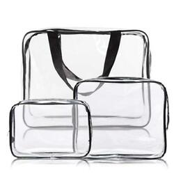 3pcs Crystal Clear Cosmetic Bag Travel Toiletry Set Waterproof Packing...