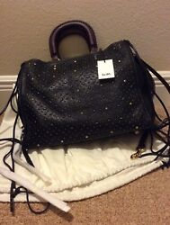 RARE NWT Coach 1941 Whiplash Rivets Rogue Bag 36 In Pebble Leather 54575 BLACK