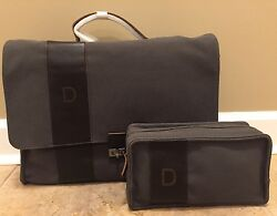 NEW 2PC Pottery Barn Bradley Leather Canvas Messenger & Toiletry Bag OLIVE