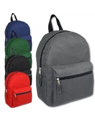 Lot Of 24 Wholesale 15 Inch Basic Backpacks In 5 Assorted Solid Colors Knapsacks