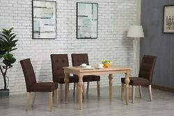 Oliver Smith Roosevelt Collection 5 Piece Dining Set With Dark Brown Chairs
