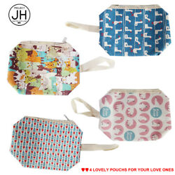 Small Cosmetic Makeup Bags for Women & Teens - 4 Korean Design Fabric Pouch