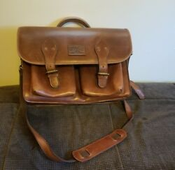 Vintage Duluth Trading Co. Briefcase Leather Messenger Bag Attache School Colleg