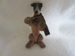 Antique OLD Anri Italy Wood Carved Smooth Fox Terrier Dog Figurine Violin Player