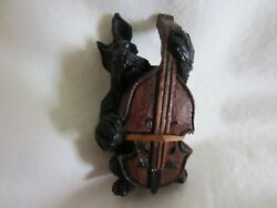 Antique Anri Italy Wood Carved Scottish Terrier Scotty Dog Figurine Cello Band
