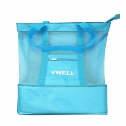 Mesh Beach Bag Insulated Picnic Cooler Tote Bag W Zipper Top Luggage Outdoor