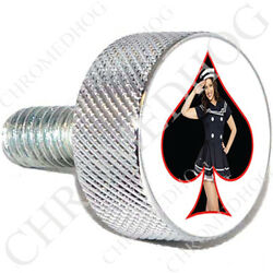 Chrome Sm Or Lg Harley Twin Cam Air Filter Cleaner Bolt - Pin Up Girl Navy Sbw