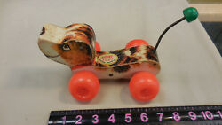 Fisher Price Vintage Little Snoopy Wobbly Wheel Wood Pull Toy Dog-- Missing Ear