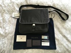 Prada Unisex Men's Women's Nylon Messenger Satchel Crossbody Shoulder Bag V166