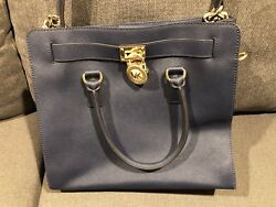 (2)MICHAEL KORS BLUE&White LEATHER PADLOCK PURSE-MK DESIGNER BAGTOTEEXCELLENT