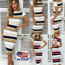 Women's Short Sleeve Striped Sexy Slim Bodycon Evening Cocktail Party Midi Dress