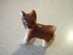 Vintage Terrier Dog Figurine ~ Brown & White