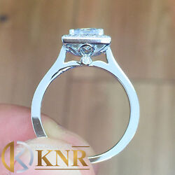 14k White Gold Princess And Round Natural Diamonds Engagement Ring Halo 1.50ctw