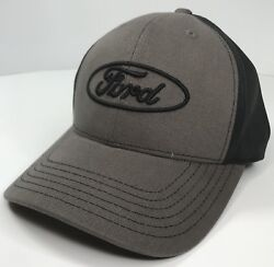Ford Hat Cap Gray amp; Black W Black Ford Oval Logo Emblem Licensed
