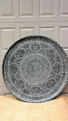 Antique 19c Middle East Very Large Silvered Over Copper Charger/serving Tray